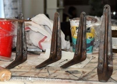 How to make a wall shelf. How To Paint New Brackets To Look Like Rusted Iron - Step 2
