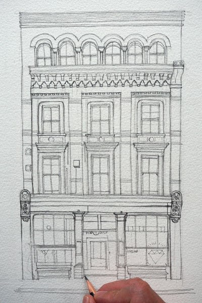 How to paint a piece of watercolor art. Period Building Painting - Step 1