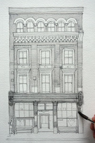 How to paint a piece of watercolor art. Period Building Painting - Step 2