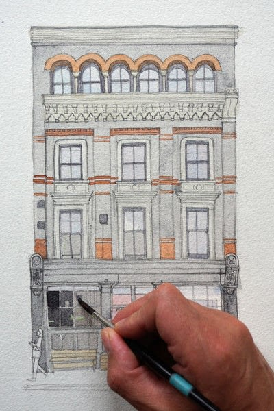 How to paint a piece of watercolor art. Period Building Painting - Step 3