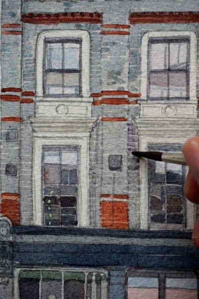 How to paint a piece of watercolor art. Period Building Painting - Step 4