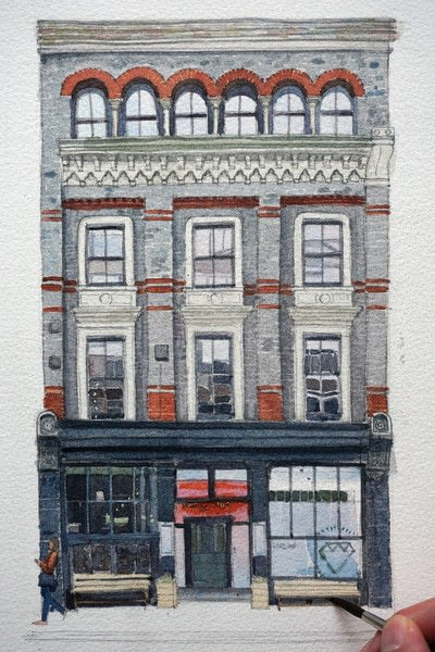 How to paint a piece of watercolor art. Period Building Painting - Step 5