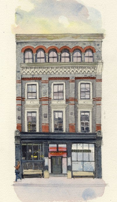 How to paint a piece of watercolor art. Period Building Painting - Step 6