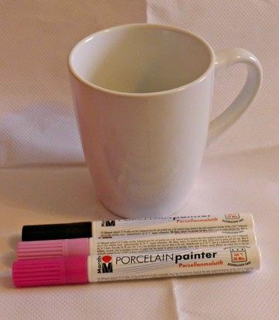 How to make a cup / mug. Cherry Blossom Hand Painted Mug - Step 1
