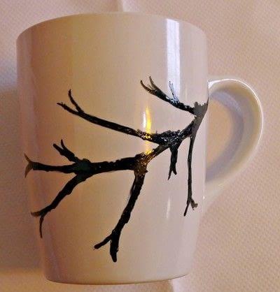 How to make a cup / mug. Cherry Blossom Hand Painted Mug - Step 3
