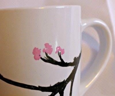 How to make a cup / mug. Cherry Blossom Hand Painted Mug - Step 4