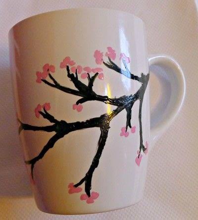 How to make a cup / mug. Cherry Blossom Hand Painted Mug - Step 5