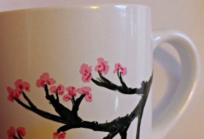 How to make a cup / mug. Cherry Blossom Hand Painted Mug - Step 6