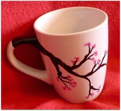 How to make a cup / mug. Cherry Blossom Hand Painted Mug - Step 10