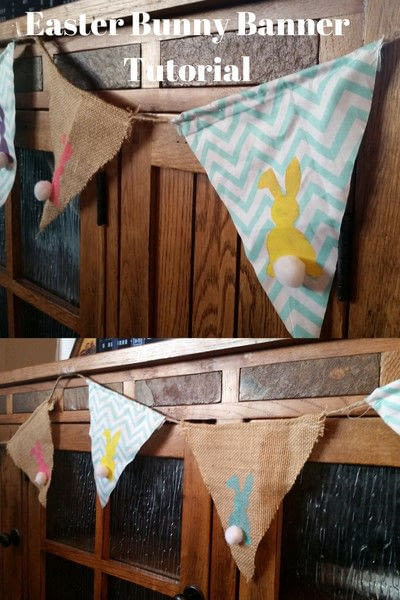 How to make bunting. Frugal Easter Bunny Banner - Step 5