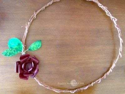 How to make a wreath. Repurpose Beer Can Flower And Leaf Wreath - Step 8