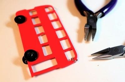 How to make a shrink plastic pendant. Red Bus Necklace - Step 13