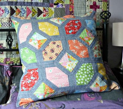 How to sew a patchwork cushion. Nellie's Knots   A Foundation Pieced Block - Step 1