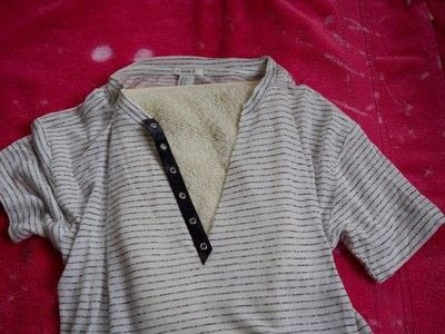 How to make a revamped t-shirt. No Sew Lace Up Shirt - Step 2