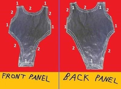 How to make a tank top. Liquid Gold Lame' Keyhole Backed Ruched Back Sleeveless Bodysuit. - Step 7