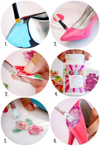 How to make a pair of decoupage shoes. Spring Shoe Makeovers - Step 2
