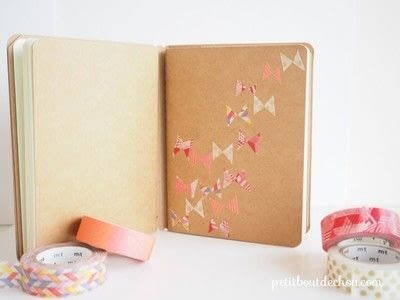 How to make a notebook journal. Diy Notebook Butterflies Cover With Masking Tape - Step 4