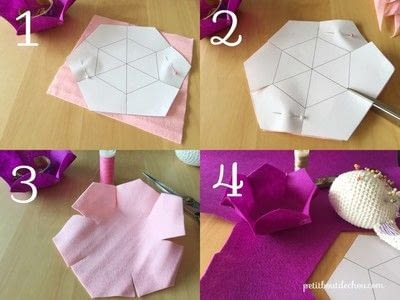 How to sew a fabric basket. Diy Flower Shaped Felt Basket - Step 1