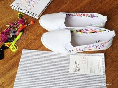 How to make a pair of embellished shoes. Diy: Custom Summer Shoes Embroidery - Step 2