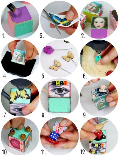 How to make a piece of assemblage art. Artist Trading Blocks - Step 2