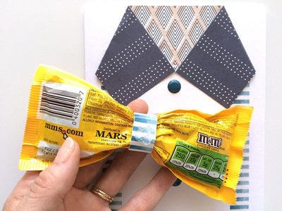 How to make a greetings card. M&Ms Bow Tie Card For Father's Day - Step 5