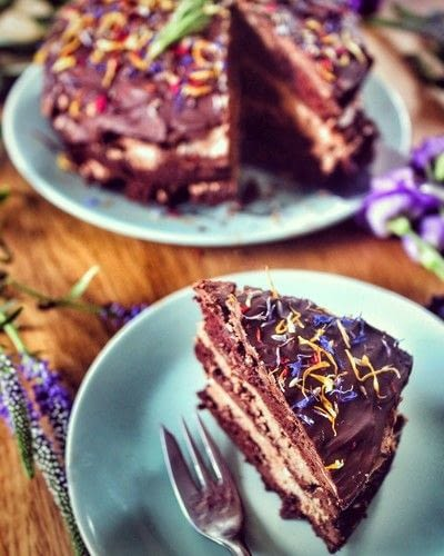 How to bake a chocolate cake. Rosemary Chocolate Mousse Cake - Step 17