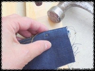 How to rip a pair of ripped jeans. Distressing Denim, Topstitching And Attaching Jeans Rivets/Buttons - Step 5