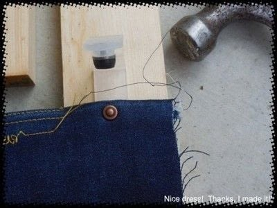 How to rip a pair of ripped jeans. Distressing Denim, Topstitching And Attaching Jeans Rivets/Buttons - Step 7