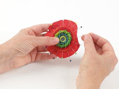 How to stitch a stitched brooch. Raised Embroidery Brooch - Step 29