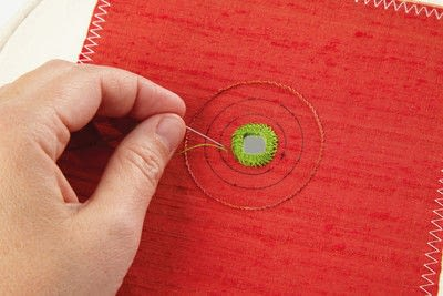 How to stitch a stitched brooch. Raised Embroidery Brooch - Step 12