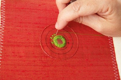 How to stitch a stitched brooch. Raised Embroidery Brooch - Step 13