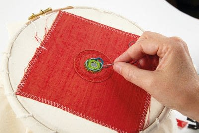 How to stitch a stitched brooch. Raised Embroidery Brooch - Step 18