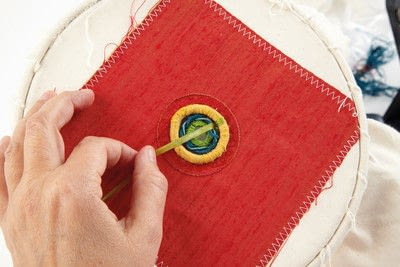 How to stitch a stitched brooch. Raised Embroidery Brooch - Step 22