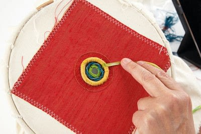 How to stitch a stitched brooch. Raised Embroidery Brooch - Step 23
