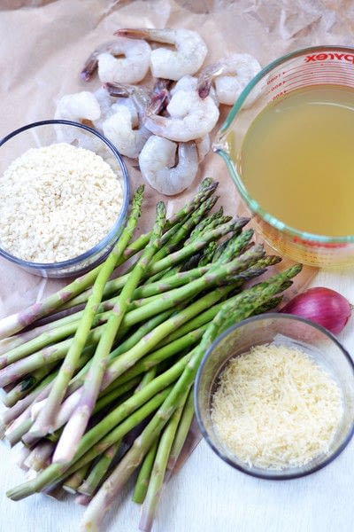 How to cook risotto. Shrimp Asparagus Risotto - Step 1
