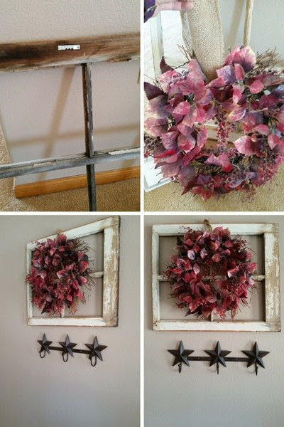 How to make a branch & twig wreath. Simple & Easy Old Window Decor - Step 1