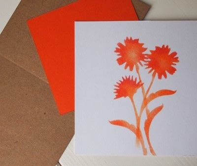 How to make a greetings card. Floral Stencil Card - Step 3