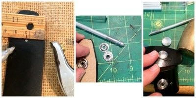 How to make a cuff. Up Cycled Belt Leather Cuff Bracelet with Vintage Tin 'Paris' Accent - Step 2