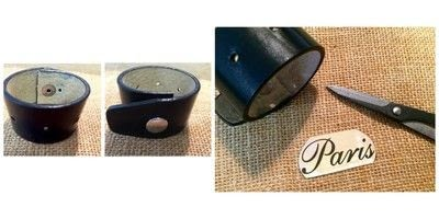 How to make a cuff. Up Cycled Belt Leather Cuff Bracelet with Vintage Tin 'Paris' Accent - Step 3