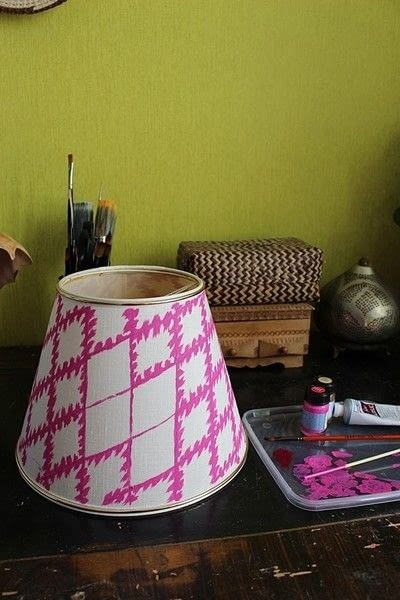 How to make a lamp / lampshade. Ikat Inspired Lamp Makeover - Step 11