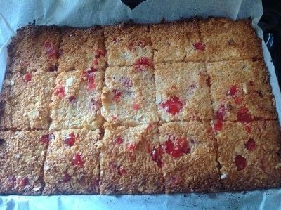 How to bake a bar / slice. Coconut & Cherry Slice - Step 4