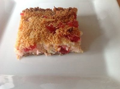 How to bake a bar / slice. Coconut & Cherry Slice - Step 5