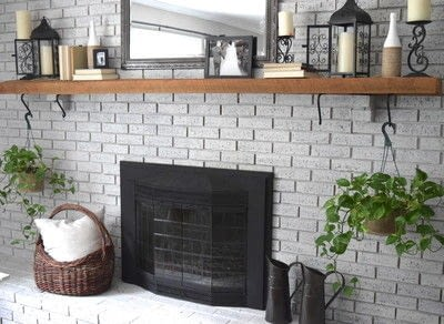 How to make a fireplace. How To Whitewash Your Brick Fireplace - Step 4