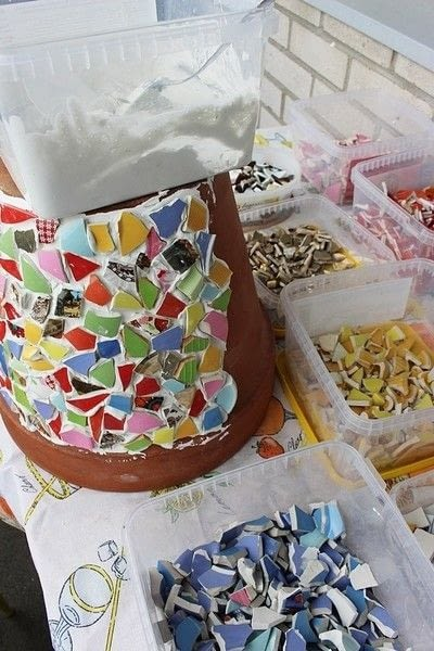 How to make a mosaic vase. Mosaic Flowerpot - Step 4