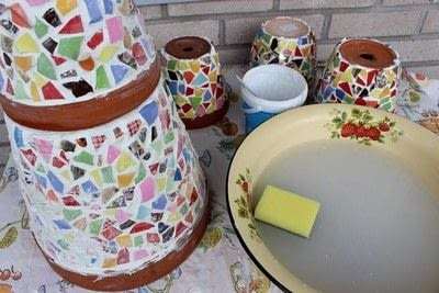 How to make a mosaic vase. Mosaic Flowerpot - Step 6