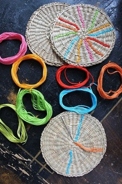 How to make a recycled coaster. Colorful Rattan Coasters - Step 1