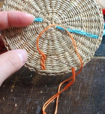 How to make a recycled coaster. Colorful Rattan Coasters - Step 2