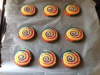 How to bake a pinwheel cookie. Rainbow Swirl Cookies  - Step 14