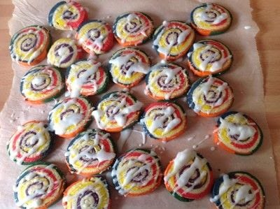 How to bake a pinwheel cookie. Rainbow Swirl Cookies  - Step 15