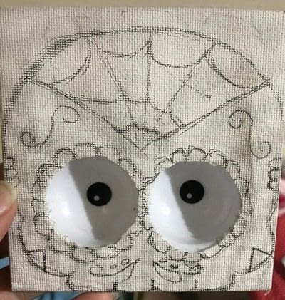 How to create a drawing or painting. Haunted Sugar Skull Picture  - Step 3